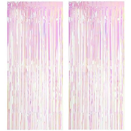 2 Pack Metall Lametta Vorhänge Folie Fransen Schimmer Vorhang Tür Fenster Dekoration Für Geburtstag Hochzeit Partei Liefert Luftschlangen 100 200cm Transparent Multicolor Küche Haushalt