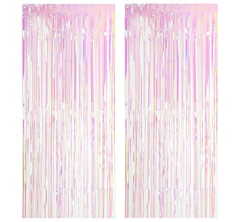 2 Pack Metall Lametta Vorhänge Folie Fransen Schimmer Vorhang Tür Fenster Dekoration für Geburtstag Hochzeit Partei liefert Luftschlangen 100 * 200cm - Transparent Multicolor