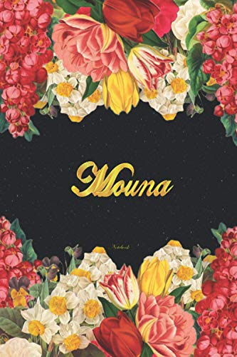 Mouna Notebook: Lined Notebook / Journal with Personalized Name, & Monogram initial M on the Back Cover, Floral Cover, Gift for Girls & Women