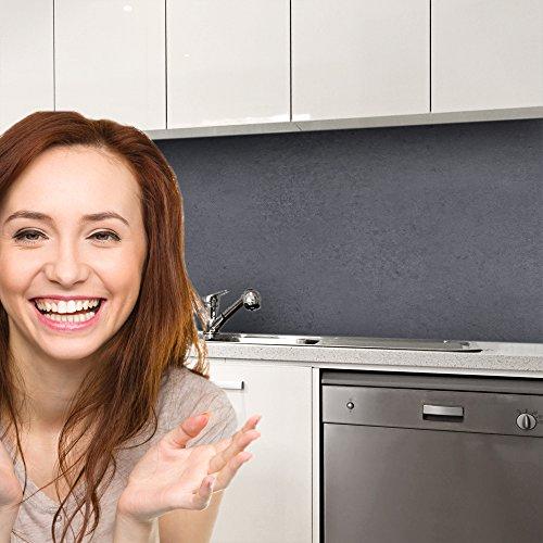 druck-expert Küchenrückwand Selbstklebend Dekorfolie Beton dunkel Profi Qualität 0, 25mm 3D Strucktur 500x61cm