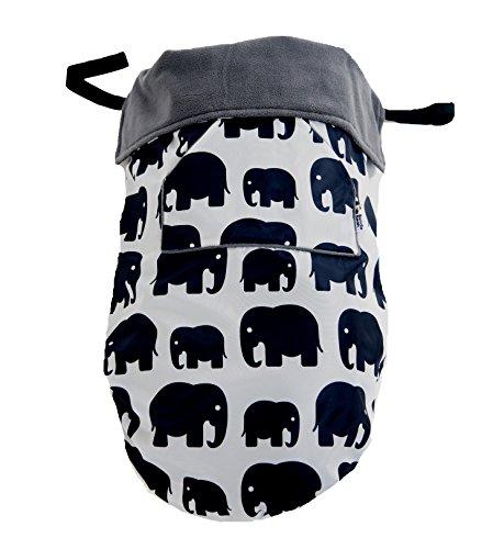 BundleBean - GO - Saco universal para cochecitos, sillas y portabebés - Impermeable - Diseño de elefantes - Gris