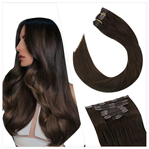 Ugeat Clip in Extensions Real Human Hair 18 Pouces Extension Cheveux Naturelles Clip 100g 7pcs Extensions Cheveux Clips Remy Hair Easy Fit Marron Fonc