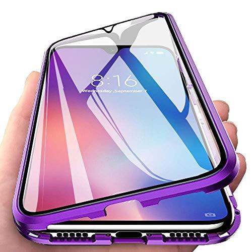 Yichxu Huawei P30 Pro Hülle Magnet, Magnetische Adsorption Handyhülle für Huawei P30 Pro, Einteiliges 360 Grad Gehärtetes Glas Schutzhülle Panzerglasfolie Durchsichtige Case Cover, Lila