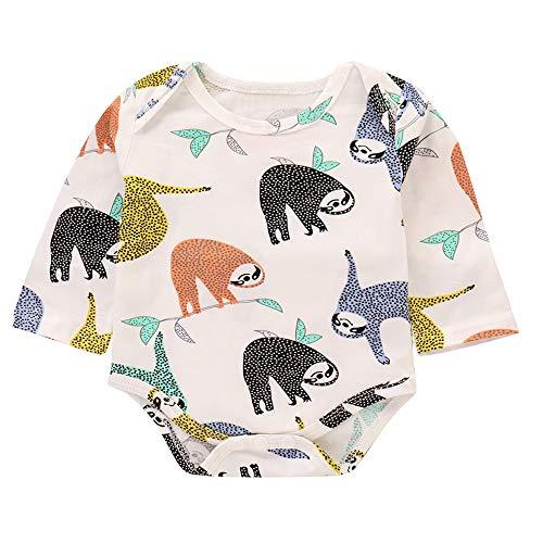 DAY8 Vêtement Bébé Garçon Naissance 0-24 Mois Pyjama Bébé Garçon Hiver Body Combinaison Bébé Garçon Pas Cher Manche Longue Manteau Bébé Fille Cartoon Barboteuse Grenouillère (90(12-18 Mois), Blanc)