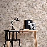 Papel pintado con aspecto de piedra, 3D, color beige y marrón, diseño moderno de pared de piedra, incluye cola maestra de piedra natural, ideas para salón, dormitorio o cocina 692429