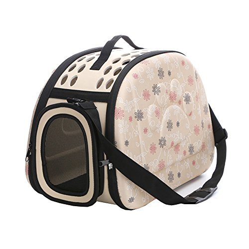 Yimidear Al Aire Libre Respirable Plegable Bolsa para Mascotas para Perro Gato Cómodo Viaje Talla Mediana Portador de Mascotas (Beige)