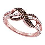 Sonia Jewels Size 7-14k Rose Gold Round Chocolate Brown Diamond Infinity Ring (1/3 Cttw)