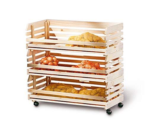 PKline Regal Vegam 3 Kisten für Obst + Gemüse Natur Standregal Holzregal Küchenregal