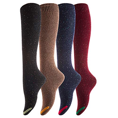 Lovely Annie Women's Pack Knee High Cotton Boot Socks 6-9,pack of 4,Black, Coffee, Navy, Wine