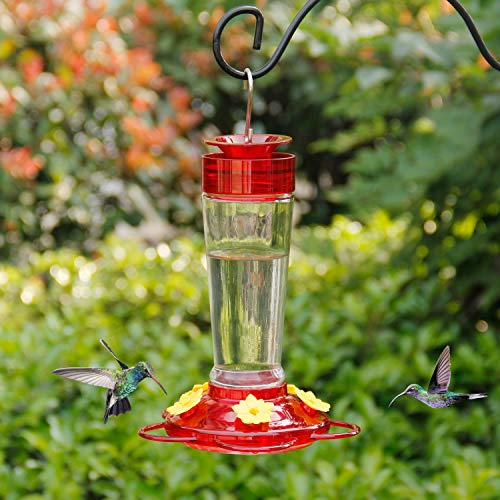 Shrdaepe Hummingbird Feeder, Glass Bottle Bird Feeders, 5 Feeding Ports, 10-Ounce Nectar Capacity