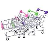 HBF Mini Shopping Cart Trolley, 3Pccs Make Up Holder Rack Storage Stainless Metal Racking for Desktop Decoration