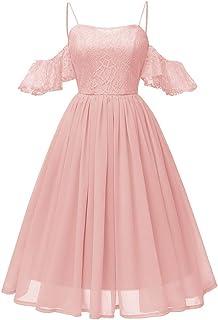 Xmiral Damen Kleid Vintage Prinzessin Blumenspitze Chiffon Rock Cocktail O-Ausschnitt Party A-Line Swing Kleid
