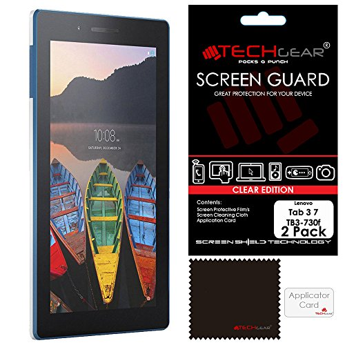 TECHGEAR [Pack of 2] Screen Protectors for Lenovo Tab 3 7' Tablet (TB3-730F) - Clear Lcd Screen Protector Guard Covers With Screen Cleaning Cloth & Application Card - Not for Tab 3 7' Essential