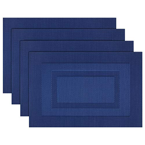 pigchcy Placemats,Washable Vinyl Woven Table Mats,Elegant Placemats for Dining Table Set of 4 (18 x 12 inch, Royal + Navy Blue)