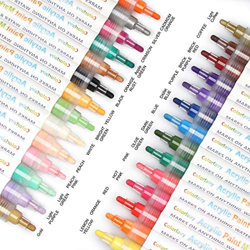 28 Colors Acrylic Paint Marker Pens with Fine & MediumReversible Tip, Colorfairy Water Based Paint Setfor Rock Painting, Ceramic, Glass, Wood, Metal, Canvas, Fabric