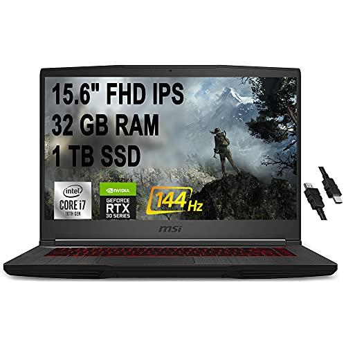 2021 Flagship MSI GF65 Thin Gaming Laptop 15.6' FHD IPS 144Hz Display 10th Gen Intel Hexa-Core...