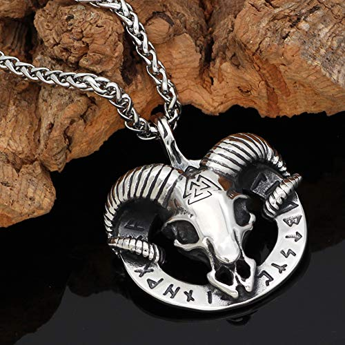 Men Viking Necklace, Norse Stainless Steel Thor's Sheep Head Skeleton Round Rune Pendant, Authentic Viking Pagan Jewelry Amulet,60CM
