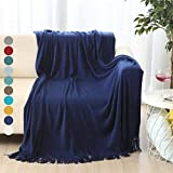 ALPHA HOME Throw Blanket for Couch 50x60 Warm Acrylic Knit Blanket Durable Lightweight Decorative Blanket with Solid Color Soft Bed Blanket for All Season Valentine's Day Machine Washable Royal Blue