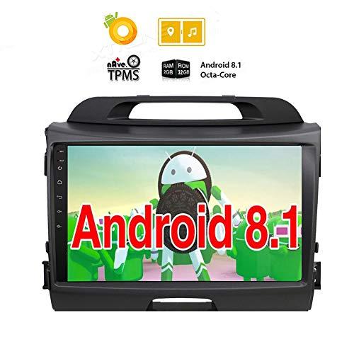 Wisess Android 8.1 Car Stereo Radio Navigator GPS 9 Pulgadas Octa Core 2GB RAM 32GB ROM In-Dash Receptores de Medios Digitales 4K Video WiFi Pantalla Duplicación de DVR para Kia Sportage,Black