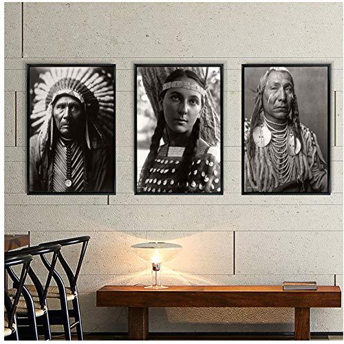 yhyxll Indianer auf Figur Amerind Gemälde gedruckt Leinwand Raumdekor Schwarz WeißPoster Wandbild für Wohnzimmer Wandkunst-50x70cm3 Kein Rahmen