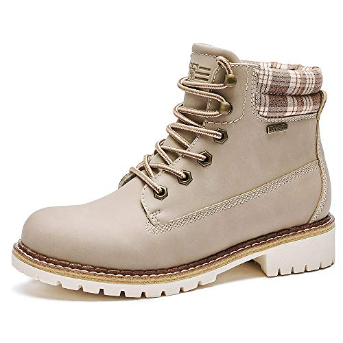 Kkyc Womens Boots Waterproof Hiking Boots Anti-Slip Ankle Boots Lace-up Casual Boots 7 M (Desert Taupe)