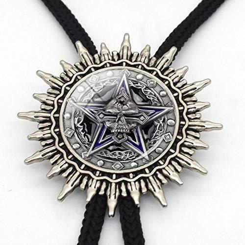 Lazo, magia negro estrella de cinco puntas Bolo tie steampunk moda de cinco puntas estrella collar de cristal de la bóveda de diapositivas de mezclilla Bolo lazo es muy adecuado for fiestas, cenas y b