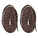 SPOSPO 平紐タイプ 2本1組シューレース 靴紐 くつひも 長さ約200cm カーキーxピンク スニーカー トレッキング 登山 ハイキング 交換