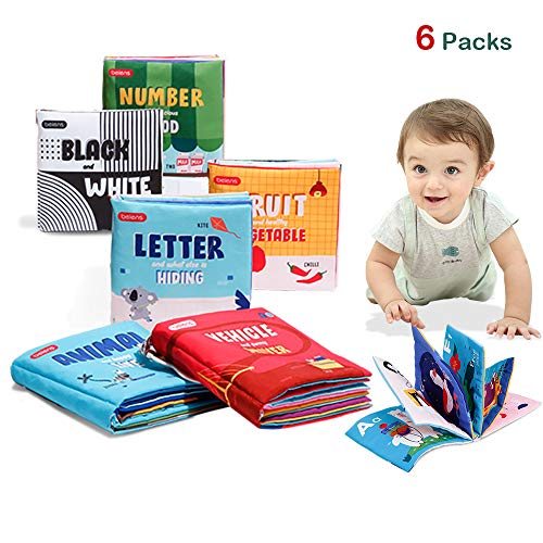 beiens Pack of 6 Baby Soft Books, NonToxic Fabric Touch and Feel Crinkle Book My First Cloth Book Early Educational Interactive Toys Activity Book for Toddlers, Infants and Kids Baby Shower Birthday