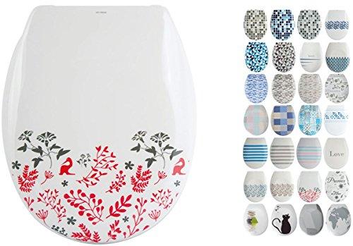 """MSV Design WC Sitz abnehmbar, Absenkautomatik, Fast Fix/Schnellbefestigung, Befestigung mit Knopfdruck, Toilettensitz WC Deckel Klobrille""""Floral"""" Rot, Weiß"""