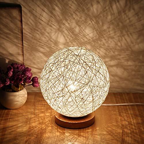 YLSMN Schlafzimmer Nachttischlampe kreative Mode Tischlampe einfache moderne dekorative Tischlampe Nachtlicht idyllische Schnur Rattan Ball Tischlampe wärmelampe