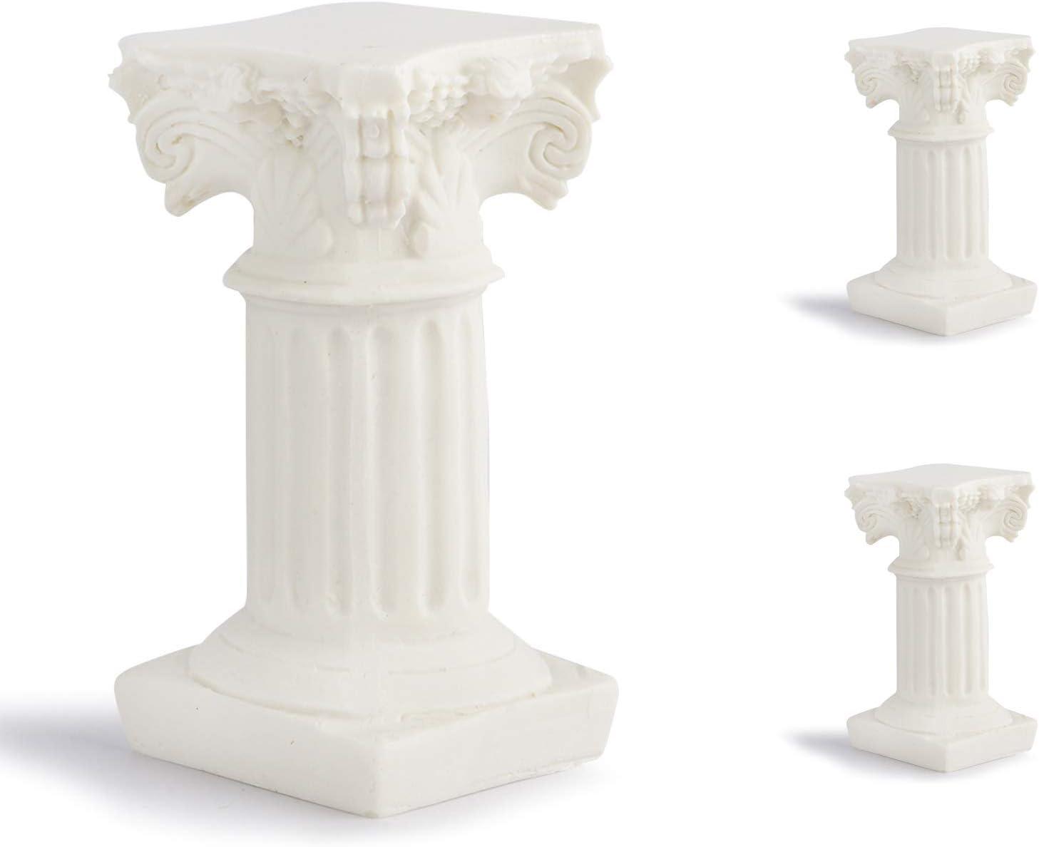 N\O Pilar Romano,3 Piezas Resina Decoración Escultura Adornos Utilizado para el Banquete de Boda de la Iglesia casa Escuela Villa Modelo Hotel Club Boda escaparate 3.6X3.6X6.7cm
