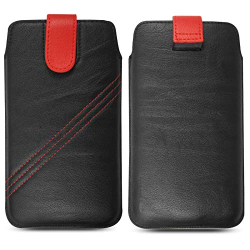 For Artfone C1 Case, Protective Leather Pull Tab Slide In Top Flip Up Phone Case Pouch Sleeve Cover (Black With Red Loop)