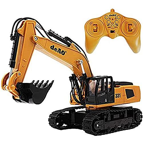 deAO Camión de Construcción Excavador Teledirigido con Luces LED y Sonidos Incluye Batería Recargable y Cargador USB