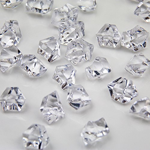 Clear Acrylic Ice Rock Crystals Treasure Gems for Table Scatters, Vase Fillers, Wedding, Banquet, Party, Event, Birthday Decoration (Clear, 150)