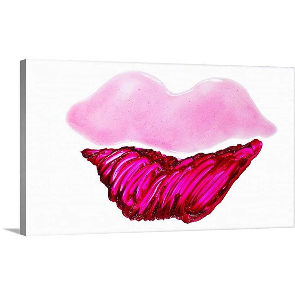 GREATBIGCANVAS Gallery-Wrapped Canvas Entitled Lip Gloss smeared into The Shape of a Lips by 72