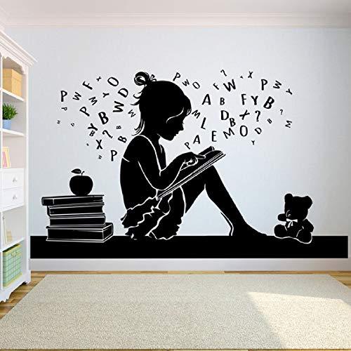 Modeganqingg Etiqueta de la Pared del Libro habitación de la niña Pegatinas de Pared educación Escolar Sala de Lectura Biblioteca librería Tienda Dormitorio decoración Negro 141x84cm
