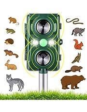 Ultrasone dierenverjager op zonne-energie met batterijvoeding en flitslicht, weerbestendig, kattenverjager en hondenschrik, voor tuin/huis, 2 ultrasone luidsprekers, 5 modi