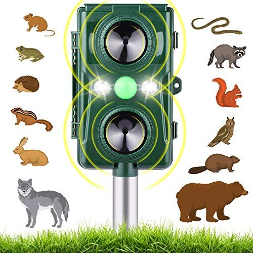Solar Ultraschall Tiervertreiber mit Batteriebetrieben und Blitzlicht, Wetterfest Katzenschreck und Hundeschreck für Garten/Haus, 2 Ultraschall-Lautsprecher, 5 Modus