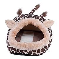 iFCOW ハムスターハウス ペットハンモック 動物の形 冬用 暖かい 寝床 保温 寒さ対策 ポケットベッド(キリン S)