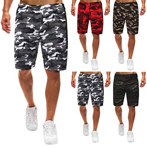 Best Gift for Father,Wrangler Cargo Shorts for Men, Men's Summer Leisure Camouflage Overalls Fashion Multi-Pocket Trousers