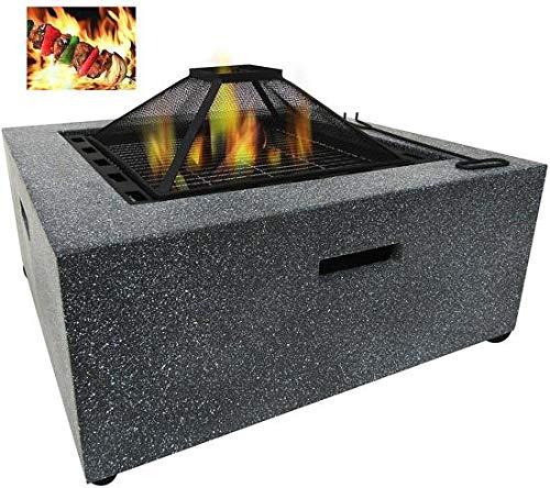 MaxxGarden Arcas Feuerschale, Feuerstelle, rustikales Design, Stein-Optik, 71 cm Durchmesser, aus Stahl mit MgO-Kunststein, Grillrost zur Nutzung als BBQ-Pit, Schürhaken