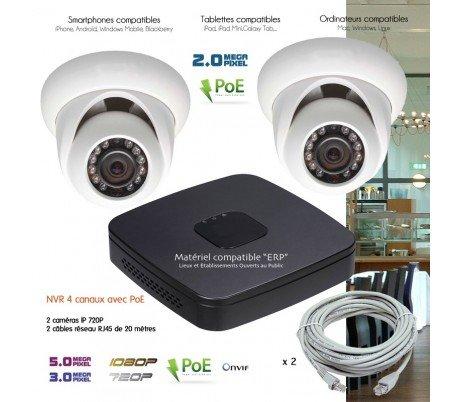 Telecamere videosorveglianza IP–Sistema video sorveglianza IP con 2telecamere Dome–kit-d24443–2x 25–Disco rigido da 1TB
