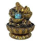 Fuente interior y exterior Regalos hechos a mano Lucky Feng Shui Decorations Dorado Maitreya Buda Estatuas de escritorio interior Fuentes de agua con bolas brillantes LED Fuente de cascada interior