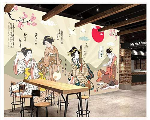 3D Tapete Geisha Sushi, Japanisch, Restaurant, Ladengeschäft, Papierscheibenpapier