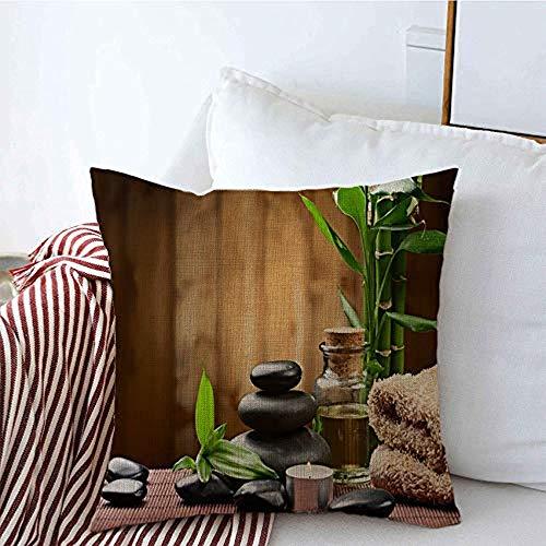 New-WWorld-Shop Kissenbezüge Öl Aromatherapie Rahmen Zen Basalt Steine Stone Rock Bambus Entspannen Sie Sich auf Feuer Holz Wohlbefinden Pflege Kissenbezüge