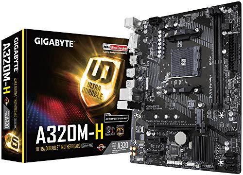 Gigabyte GA-A320M-H Mainboard (Sockel AM4/A320/DDR4/S-ATA 600/Micro ATX), schwarz