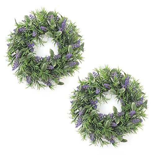 Frdsomar 2 Pack Spring Wreaths, Artificial Wreath for FrontDoor, Lavender and Holly Leaves Wreath for Indoor Outdoor, Spring, Summer, Window, Wall, Home Decor, 15inch