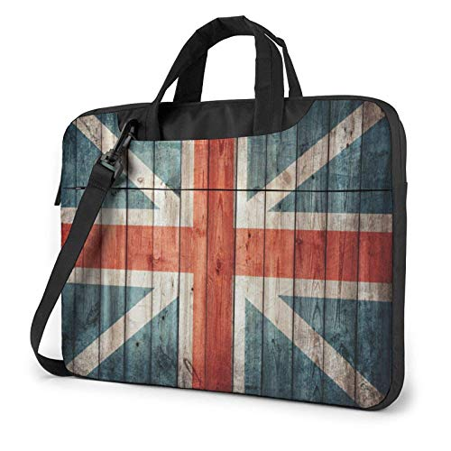 Portátil Messenger Bolsa para portátil Bandera de Inglaterra Bolso de Hombro de Madera Vieja Maletín de Oficina Funda para portátil Estuche para Tableta para Hombres y Mujeres