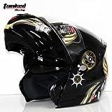 バイクヘルメット V210 ダブルシールド サイズは選択可 インナー脱着可 オートバイク シールド付き メンズ レディース ハーフ  パイロット オシャレ オールシーズン ジェットヘルメット  オープンフェスヘルメット (M, ライトイェロー)