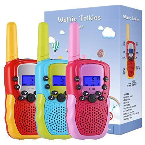 Kearui Spielzeug ab 3-12 Jahren Junge, 3er Set Walkie Talkies für Kinder 8 Kanal 3 Meilen für Abenteuer im Freien Camping Wandern Kinder Spielzeug, Geschenk für Kinder 3-12 Jährige Jungs und Mädchen